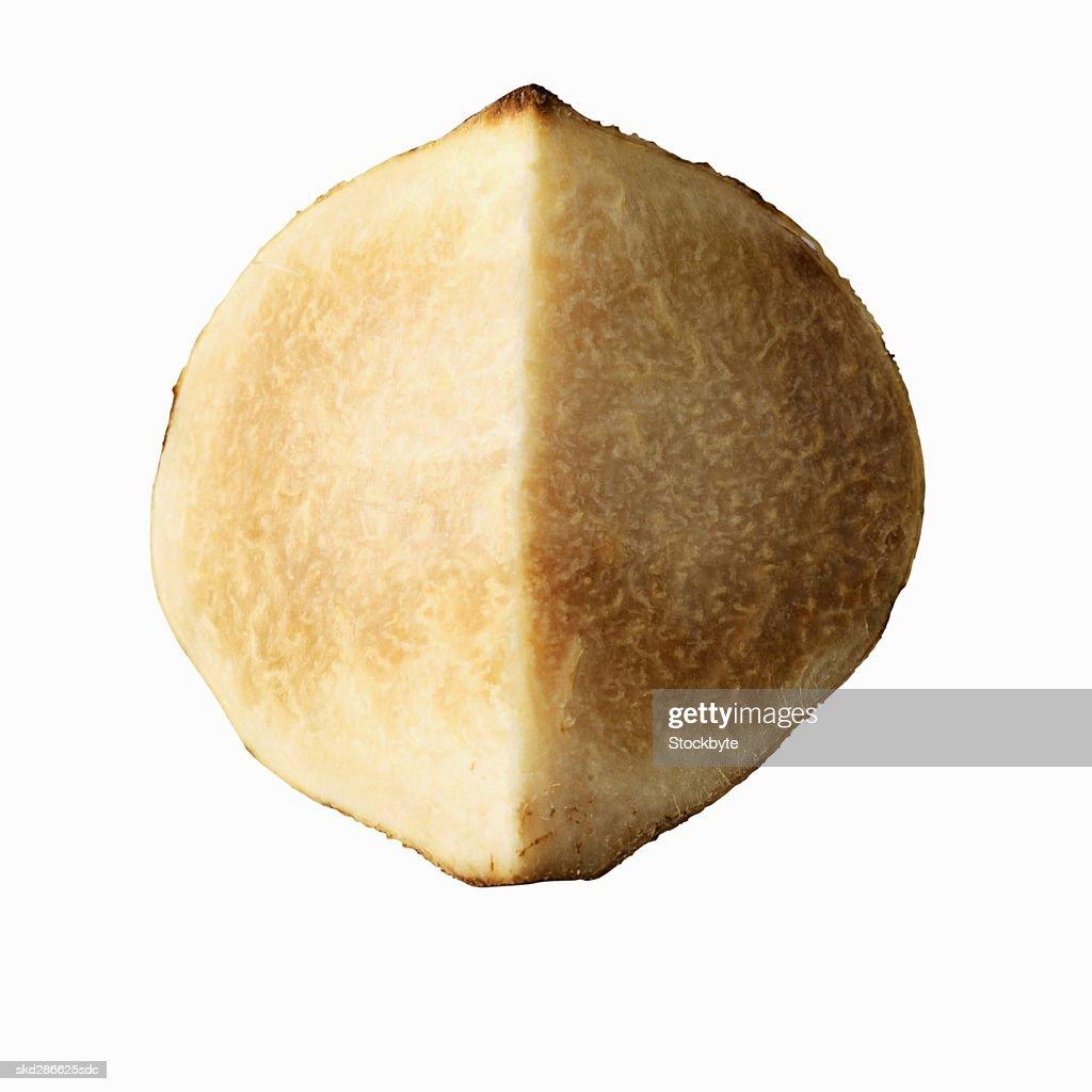 Close-up of a sliced jicama : Stock Photo