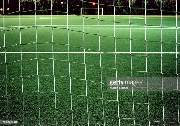 Close-up of a soccer goal