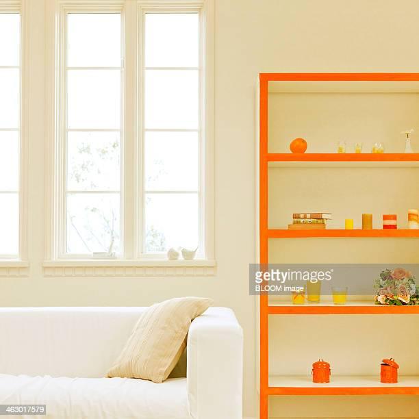 Close-up Of A Sofa And Shelf
