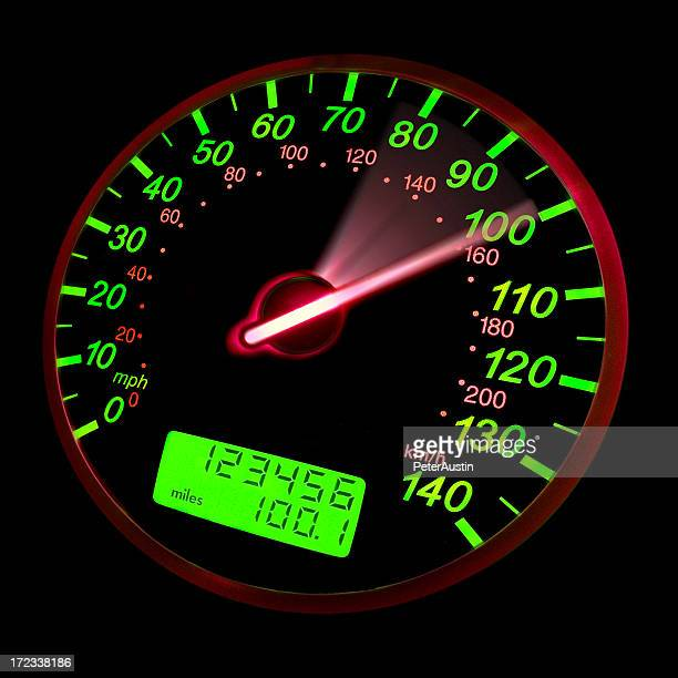 A close-up of a speedometer with green neon lights