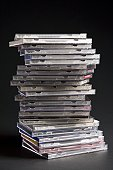Close-up of a stack of CD cases