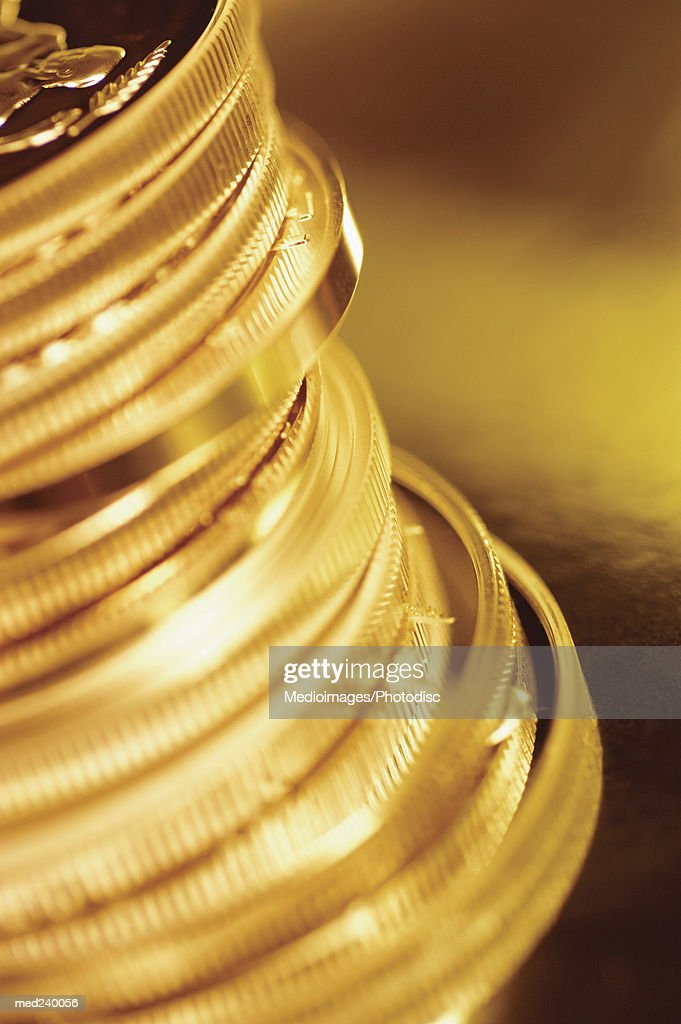 Close-up of a stack of gold coins