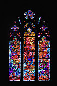 Close-up of a stained glass window, National Cathedral, Washington DC, USA