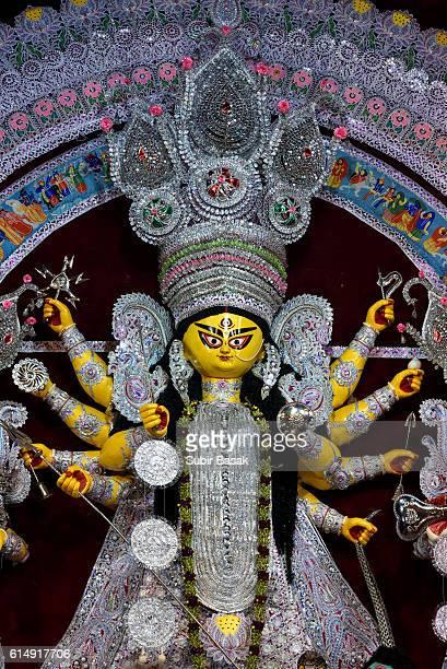 Close-up of a Statue of goddess Durga, Kolkata, West Bengal, India