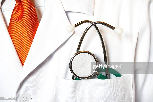 Close-up of a stethoscope in a doctor's front pocket
