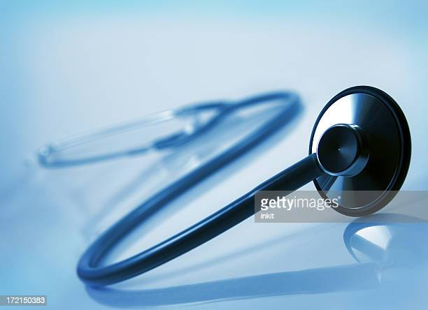 Closeup of a stethoscope with blue lighting