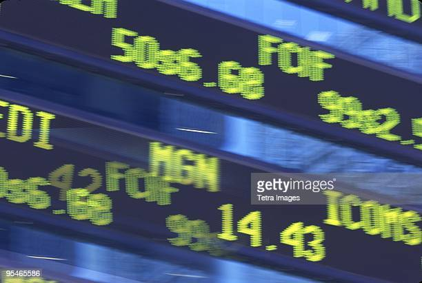 Close-up of a stock market board
