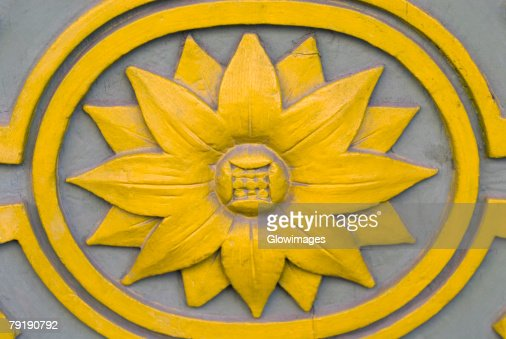 Close-up of a Sunflower painted on a wall : Stock Photo