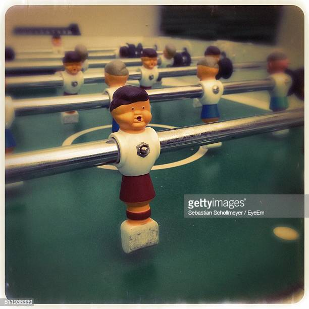 Close-up of a table football figure
