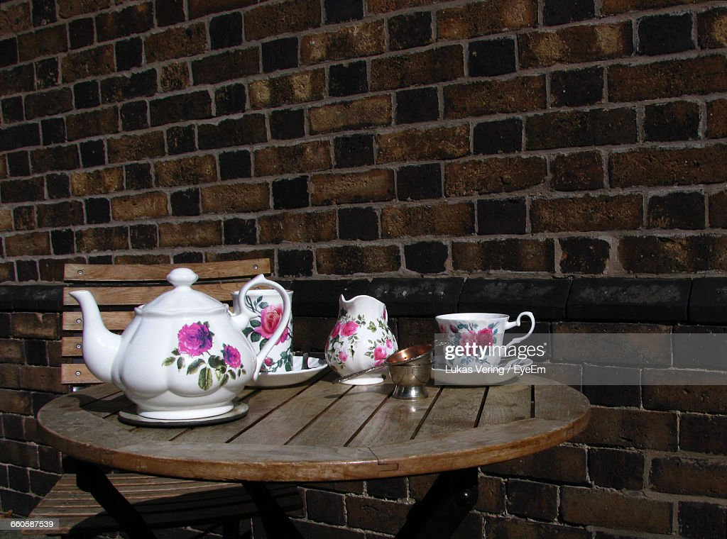 Close-Up Of A Tea Set On Table