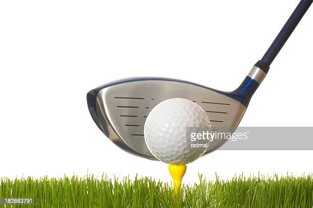A closeup of a tee off with a white background