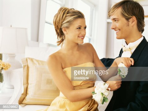 close-up of a teenage couple smiling