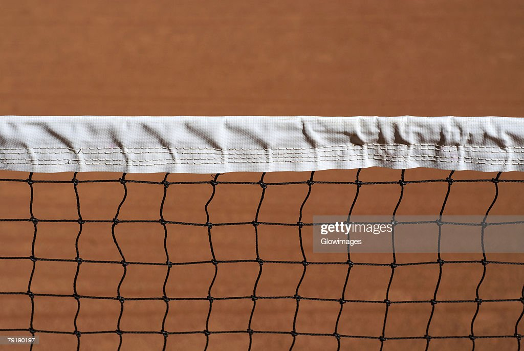 Close-up of a tennis net : Foto de stock