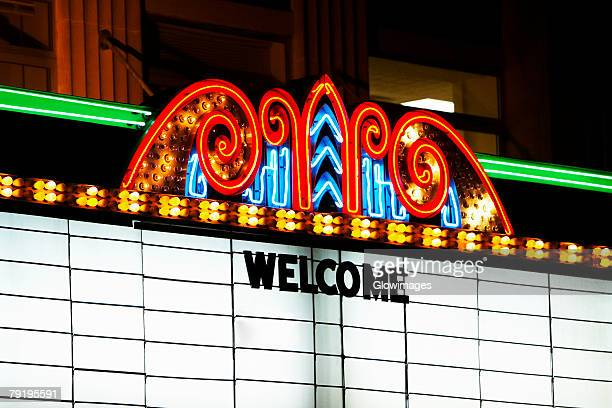 Close-up of a theater marquee lit up at night, Charleston, South Carolina, USA