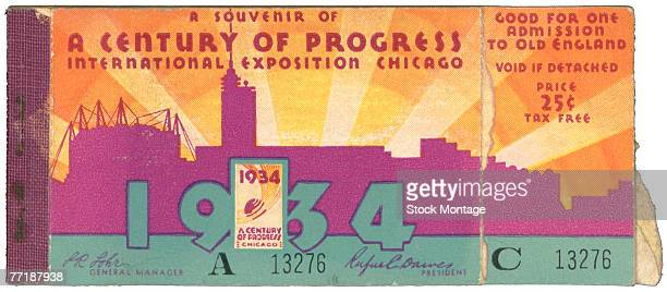 Closeup of a ticket booklet for the Century of Progress International Exposition Chicago Illinois 1934