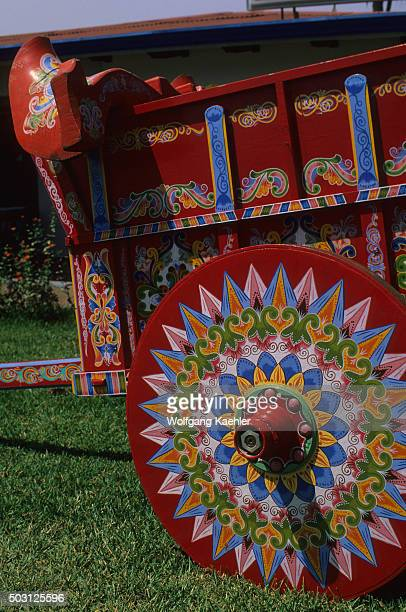 Closeup of a traditional oxcart which are painted by hand near the town of Sarchi in Costa Rica