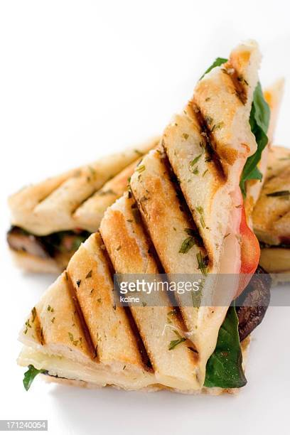 Close-up of a veggie panini with grill marks and herbs