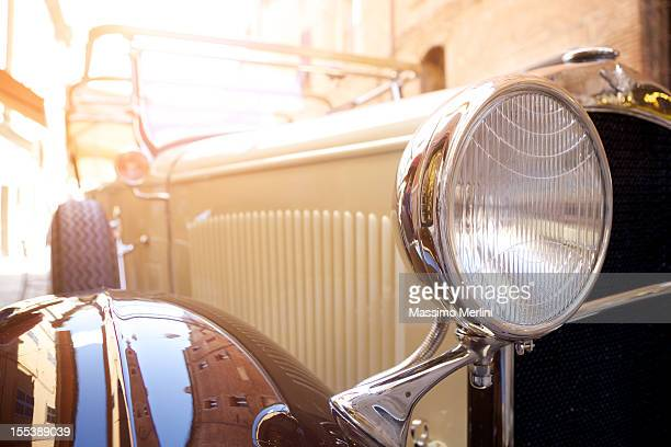 Close-up of a vintage car in Italy