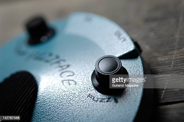 A closeup of a vintage style guitar effects pedal Studio shoot for Guitarist Magazine April 6 2010