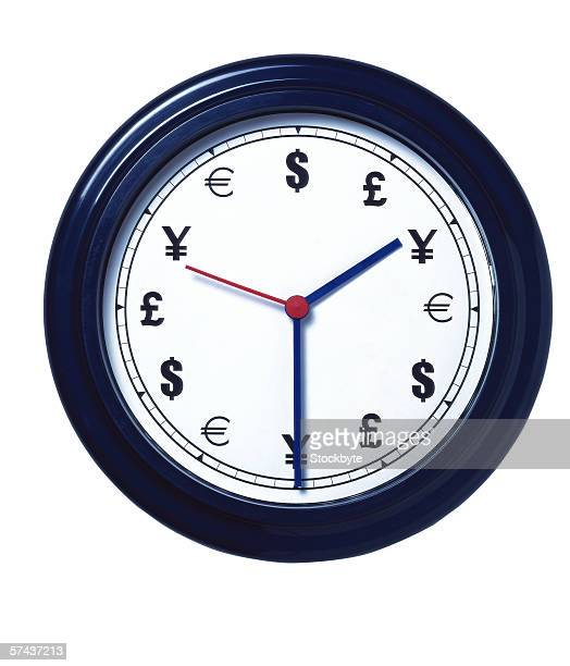 close-up of a wall clock with currency signs instead of numbers