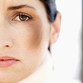close-up of a woman looking at camera