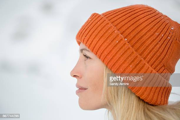 Close-up of a woman looking away, Crans-Montana, Swiss Alps, Switzerland