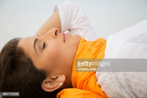 Close-up of a woman relaxing : Stock Photo