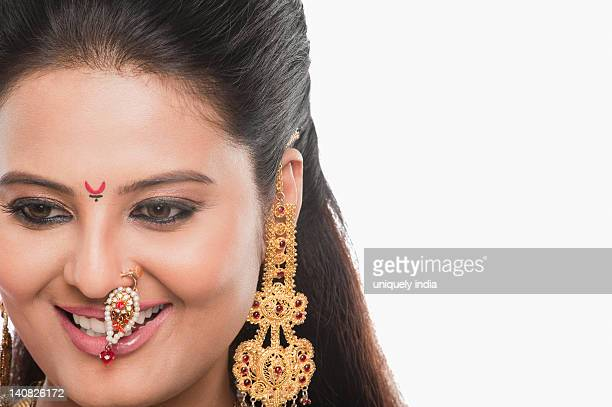 Close-up of a woman smiling on Gudi Padwa festival