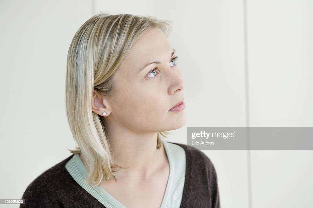 Close-up of a woman thinking