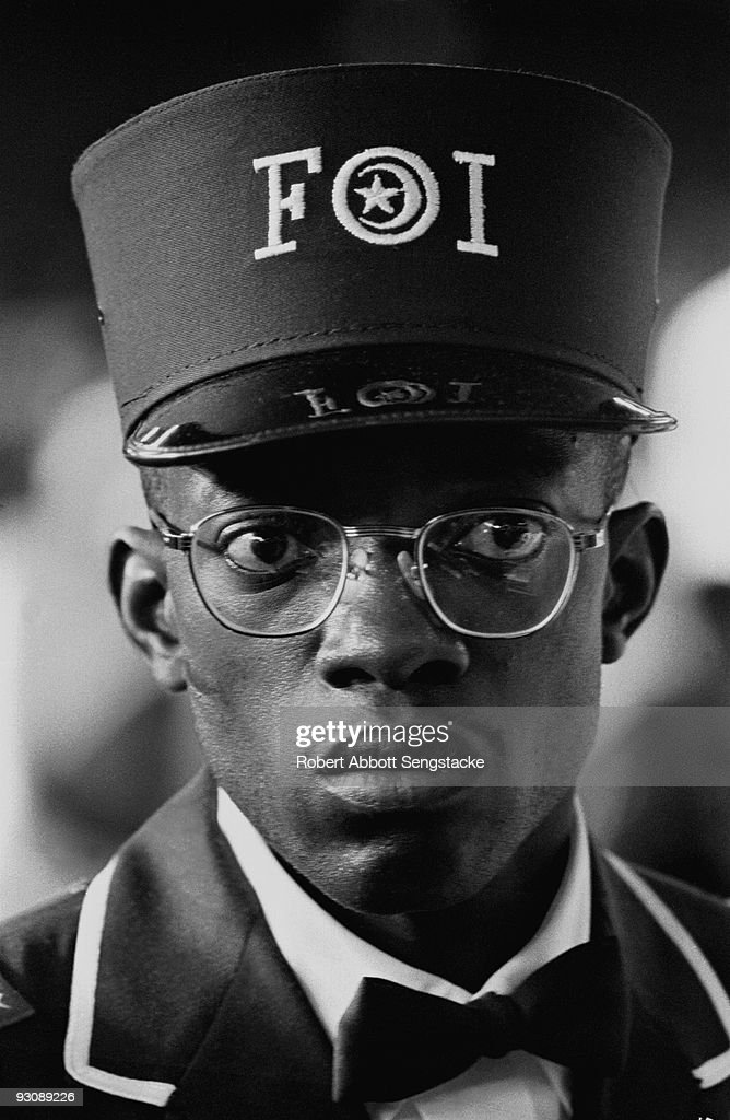 Close-up of a young male Nation of Islam attendee at the Saviour's Day (held on February 26) celebrations, Chicago, Illinois, mid 1960s. He wears the uniform of the Fruit of Islam, a subset of the Nation of Islam.