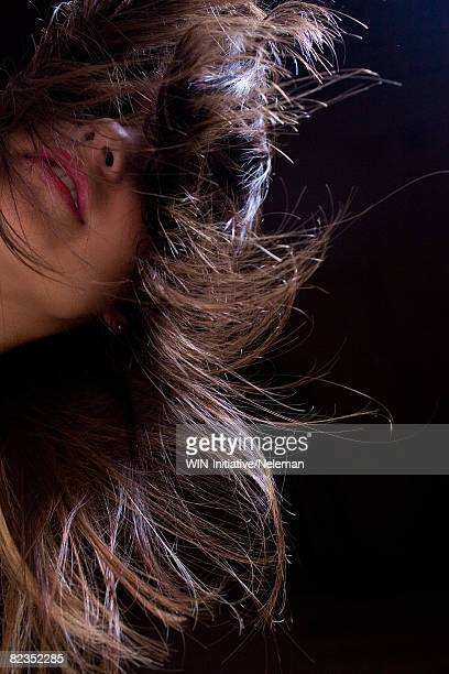 Close-up of a young woman with her tousled hair, Uruguay