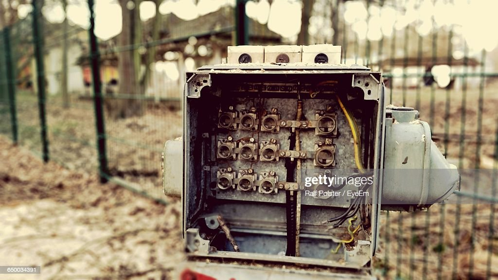 closeup of abandoned fuse box on field picture id650034391?s=170667a close up of damaged fuse box stock photo getty images fuse box band at gsmx.co