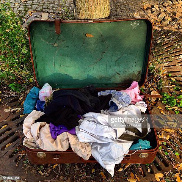 Close-Up Of Abandoned Suitcase