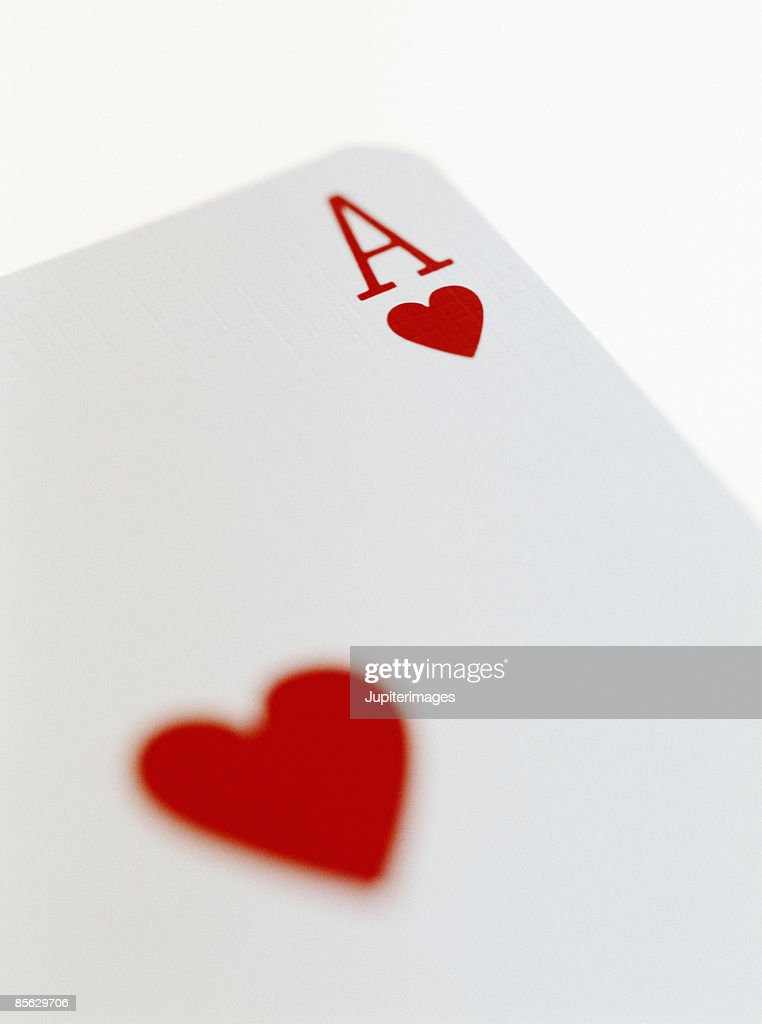 Close-up of Ace of Hearts Playing Card