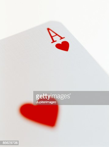 Close-up of Ace of Hearts Playing Card : Stock Photo
