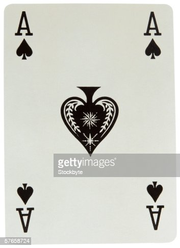 close-up of ace of spades playing card