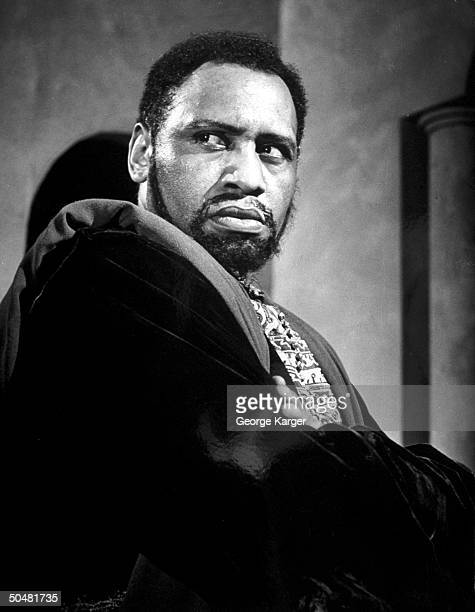 Closeup of actor Paul Robeson in scene from Othello