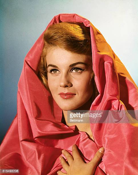 1965 Closeup of actress AnnMargret with a pink mantle over her head