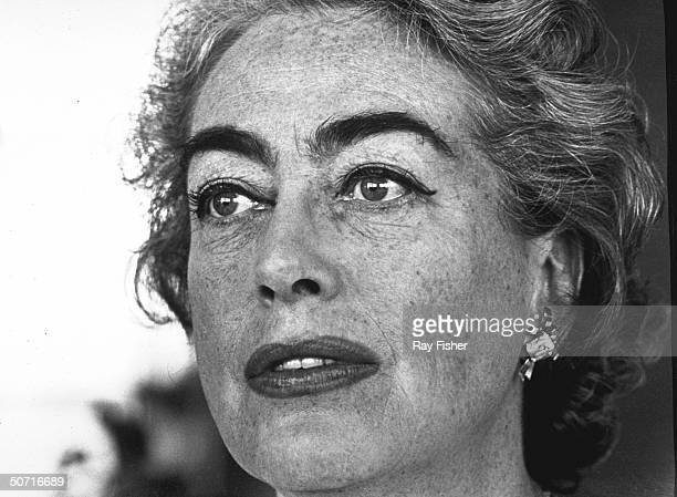 Closeup of actress Joan Crawford during an interview