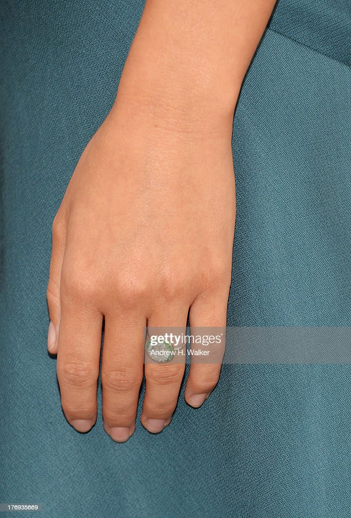 Close-up of Actress <a gi-track='captionPersonalityLinkClicked' href=/galleries/search?phrase=Olivia+Wilde&family=editorial&specificpeople=235399 ng-click='$event.stopPropagation()'>Olivia Wilde</a>'s ring during the 'Drinking Buddies' screening at Nitehawk Cinema on August 19, 2013 in the Brooklyn borough of New York City.