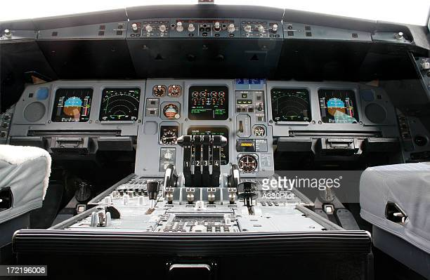 Close-up of airline flight deck and controls