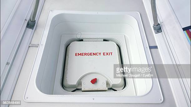 Close-Up Of Airplane Emergency Exit Door