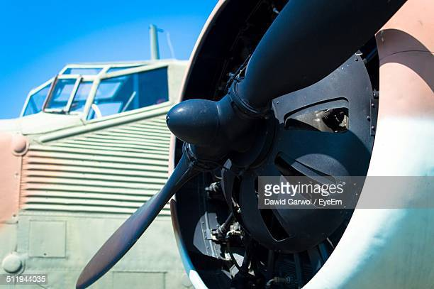 Close-up of airplane propeller