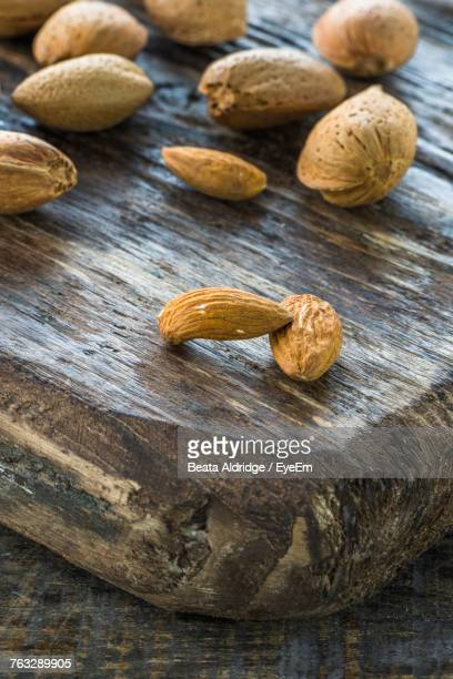 Close-Up Of Almonds On Table