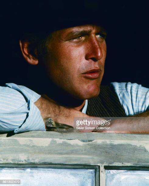 Closeup of American actor Paul Newman in a scene from 'Butch Cassidy and the Sundance Kid' 1968