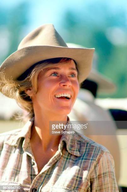 Closeup of American actress Jane Fonda in costume on the set of the film 'Comes a Horseman' Arizona 1977