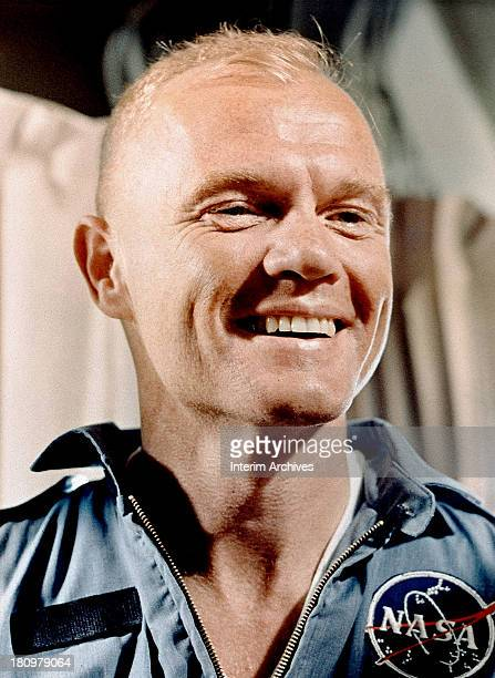 Closeup of American astronaut John Glenn as he smiles while aboard the USS Randolph after the completion of his Friendship 7 mission to orbit the...