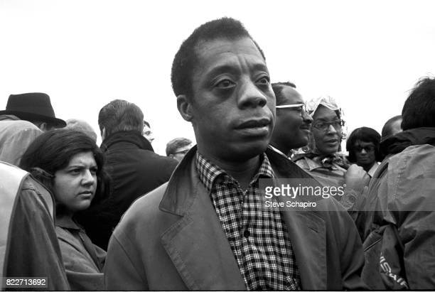 Closeup of American author and activist James Baldwin during the third Selma to Montgomery march Alabama late March 1965