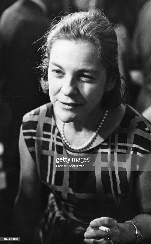Close-up of American author and critic Mary McCarthy (1912 - 1989) at an unspecified event, 1968.
