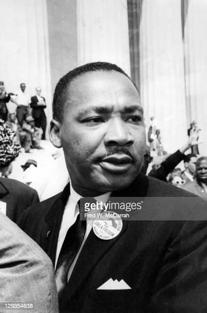 Closeup of American Civil Rights leader Reverend Martin Luther King Jr outside the Lincoln Memorial during the March on Washington for Jobs and...